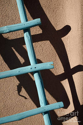 Blue Ladder And Shadow Poster by David Gordon