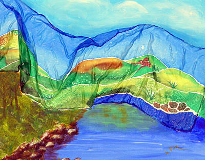 Blue Lake Silk Poster