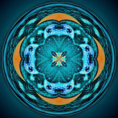 Blue Leaf Mandala Kaleidoscope Poster
