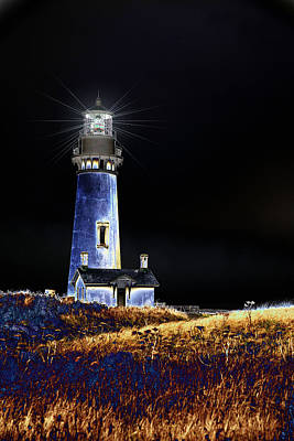 Blue Lighthouse Poster by Charrie Shockey