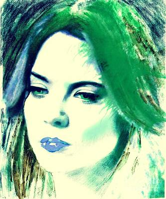 Blue Lips On Green Poster