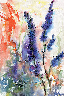Blue Lupines Watercolor And Ink Poster