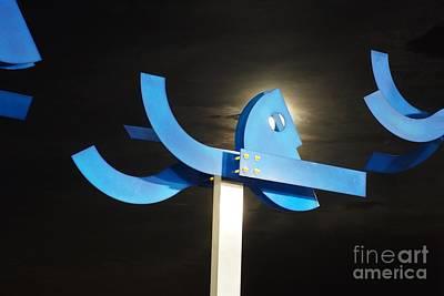 Blue Man Moon Poster by Lynda Dawson-Youngclaus