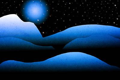 Blue Moon Mountain Landscape Art Poster