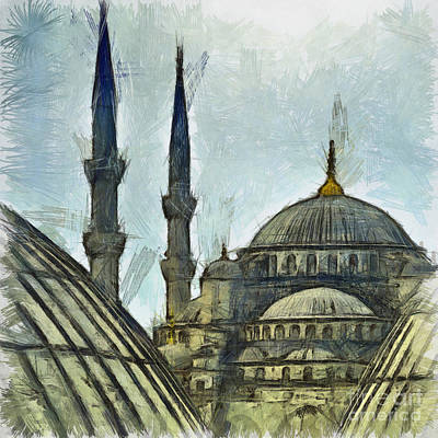 Blue Mosque Drawing Poster by Antony McAulay