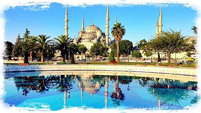 Blue Mosque Fountain Poster by Stephen Stookey