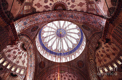Blue Mosque Interior Poster by John Rizzuto