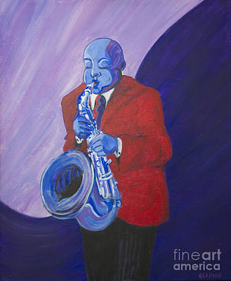 Poster featuring the painting Blue Note by Dwayne Glapion