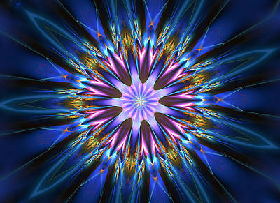 Blue Oomph Fractal Mandala Poster
