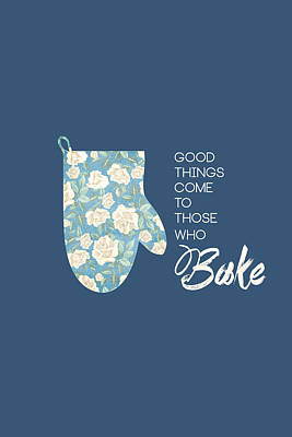 Blue Oven Mitt Poster by Nancy Ingersoll