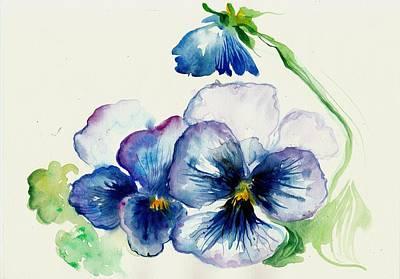 Blue Pansies Watercolor Poster