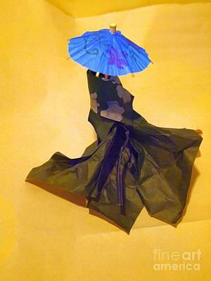 Blue Parasol Poster by Nancy Kane Chapman