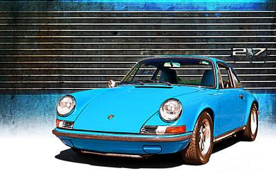 Blue Porsche 911 Poster