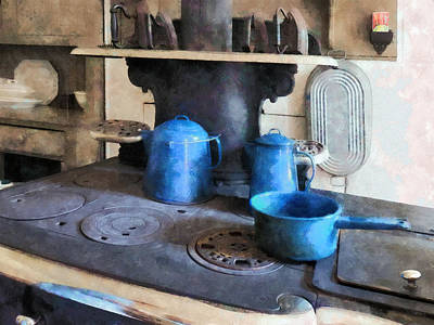 Blue Pots On Stove Poster by Susan Savad