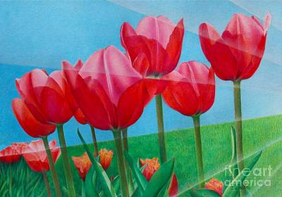 Poster featuring the painting Blue Ray Tulips by Pamela Clements