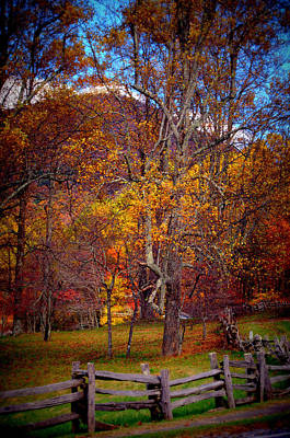Blue Ridge Fenced In Fall Poster by Cathy Shiflett