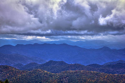 Under The Cloud Cover Blue Ridge Mountains North Carolina Poster