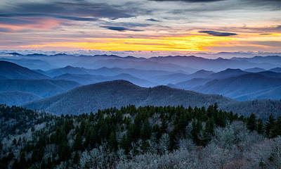 Blue Ridge Parkway Landscape Photography - Hazy Shades Of Winter Poster by Dave Allen