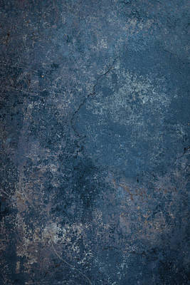 Blue Rustic Metal Background Poster by Brandon Bourdages