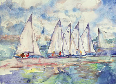 Blue Sailboats Poster by Brenda Brin Booker