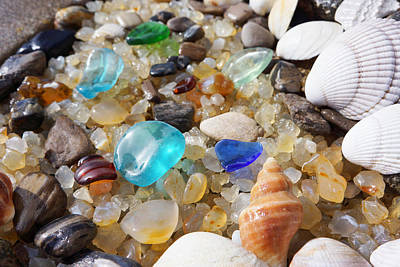 Blue Seaglass Art Prints Shells Agates Rocks Poster by Baslee Troutman