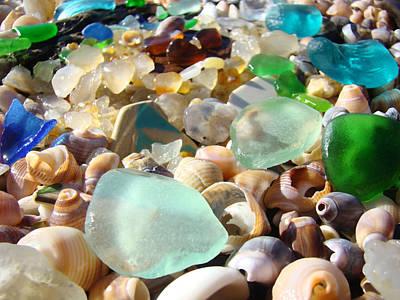 Blue Seaglass Beach Art Prints Shells Agates Poster by Baslee Troutman