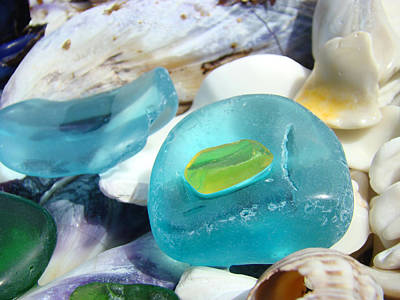 Blue Seaglass Green Art Prints Beach Shells Poster