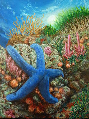 Poster featuring the painting Blue Seastar by Amelie Simmons