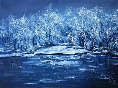 Poster featuring the painting Blue Silence by Vesna Martinjak