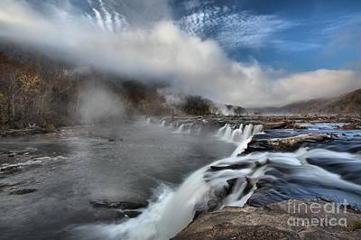 Blue Skies Over Sandstone Falls Poster by Adam Jewell