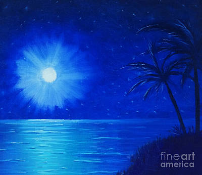 Poster featuring the painting Blue Sky At Night by Arlene Sundby