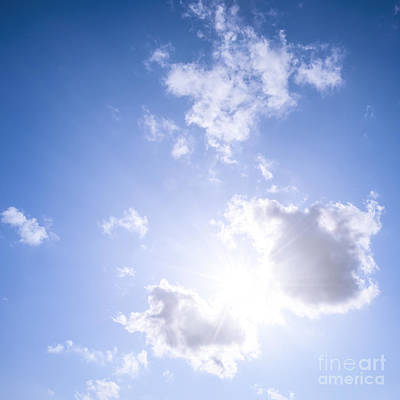 Blue Sky With Sun And Clouds Poster by Elena Elisseeva