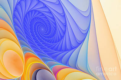 Blue Spiral Abstract  Poster