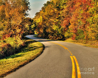 Blue Star Highway In Fall Poster by Emily Kay