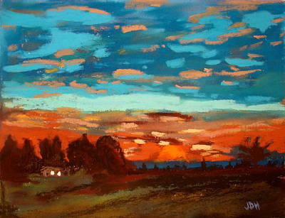 Blue Sunset Pastel Poster by Joseph Hawkins