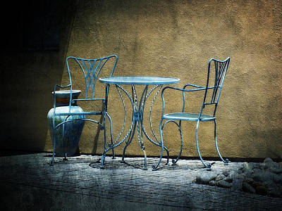 Poster featuring the photograph Blue Table And Chairs by Lucinda Walter