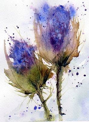 Blue Thistle Poster by Anne Duke