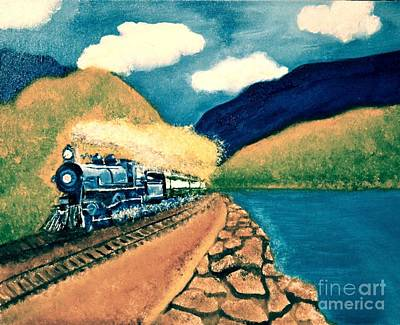 Blue Train Poster by Denise Tomasura