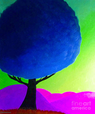 Poster featuring the painting Blue Tree by Anita Lewis