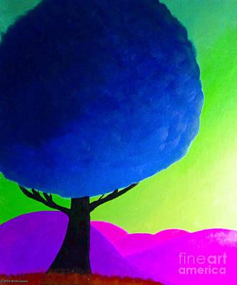 Blue Tree Poster by Anita Lewis