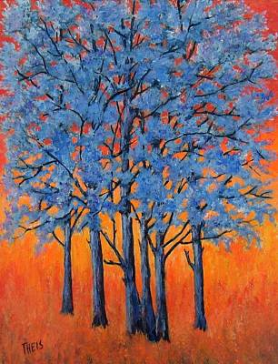 Poster featuring the painting Blue Trees On A Hot Day by Suzanne Theis