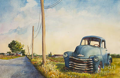 Poster featuring the painting Blue Truck North Fork by Susan Herbst