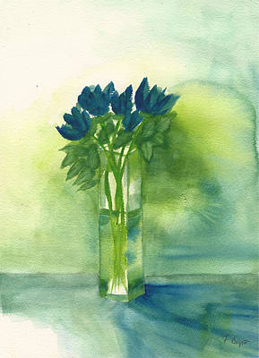 Blue Tulips In Glass Vase Poster by Frank Bright
