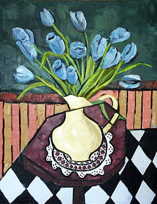 Blue Tulips On Octagon Table Poster by Anthony Falbo
