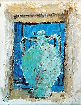 Blue Urn In A Window Poster by Janet Ashworth