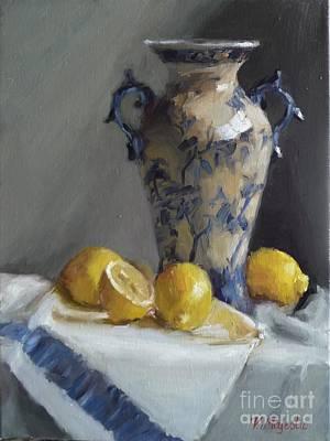 Blue Vase And Lemons Poster