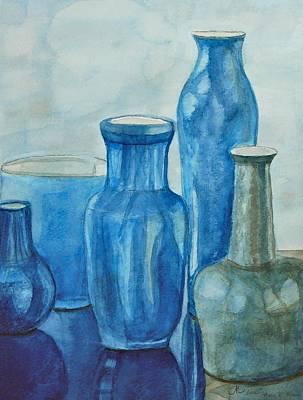 Blue Vases I Poster