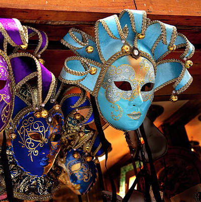 Blue Venetian Masks, Venice, Italy Used Poster