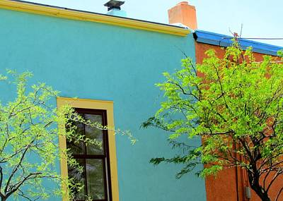 Poster featuring the photograph Blue Wall Yellow Window by Brenda Pressnall