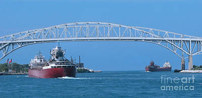 Blue Water Bridge And Freighters Poster